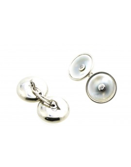 Spinki z platyny do mankietów z masą perłową i brylantami 0.12ct. H/VS-bd/bd 11.200g 950 z certyfikatem.
