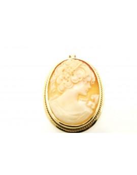 Złoty wisior-broszka kamea masa 10.400g. 585