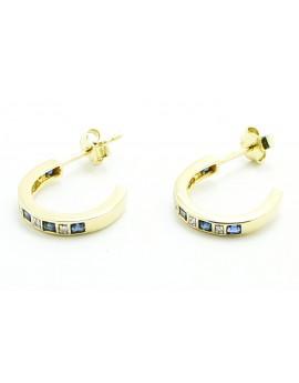 Kolczyki złote z szafirami 0.70ct. i diamentami 0.08ct.I/SI-8/8 masa 2.600g. 585