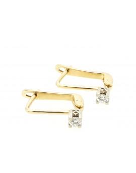 Kolczyki złote z brylantami 0.20ct. H/VS-bd/bd. masa  2.260g 585 z certyfikatem.