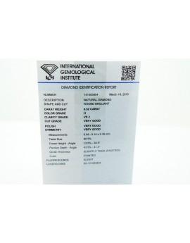 Brylant ok.0.50ct.H/VS2 Vg Vg Vg z certyfikatem IGI