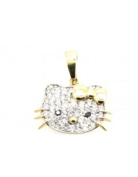 Wisiorek złoty z cyrkoniami Hello Kitty masa 2.110g. 585