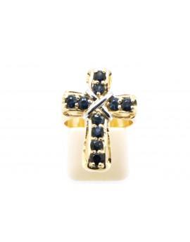 Pierścionek  złoty krzyż z szafirami 2.50ct. masa 6.500g.