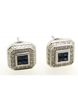Kolczyki z białego złota z brylantami 0.90ct.H/VS i szafirami z certyfikatem autentyczności 11.500g. 750
