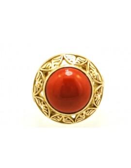pierścionek złoty z koralem 10.150g. 585