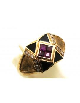 Pierścionek złoty z rubinami 0.40ct.i brylantami 0.15ct.I/SI z onyksem masa 5.800g. 585 z certyfikatem.