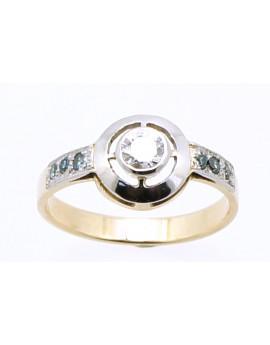 pierścionek złoty z brylantem 0.23ct.H/VS+6 brylantów 0.10ct. ICE BLUE/VS z certyfikatem masa 2.700g. 585 oprawa platyna