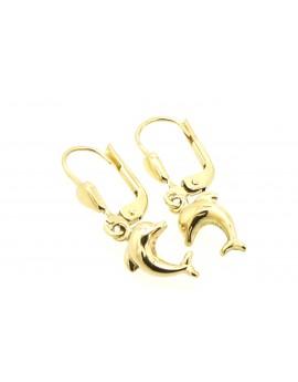 kolczyki złote delfinki masa 1.550g. 585