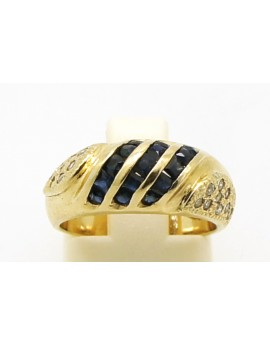 pierścionek złoty z szafirami-0.75ct.i brylantami 0.18ct.H/SI masa 6.000g.