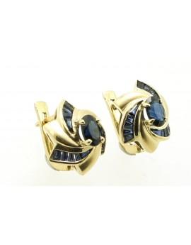 Kolczyki złote z szafirami 2.0ct. masa 6.300g.