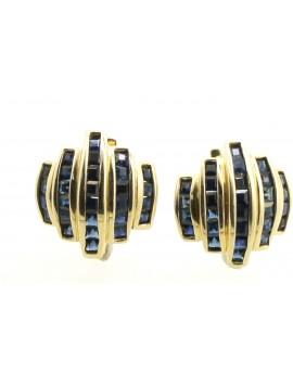 Kolczyki złote z szafirami 2.80ct. masa 8.200g.