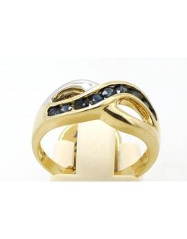 Pierścionek złoty z szafirami 0.80ct. masa 4.200g.
