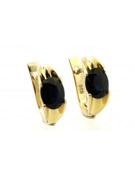 Kolczyki złote z szafirami 3.60ct. masa 3.800g.