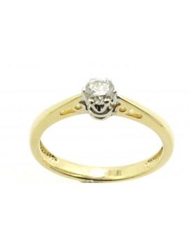 Pierścionek złoty z brylantem 0.19ct.H/SI masa 1.750g.585 z certyfikatem