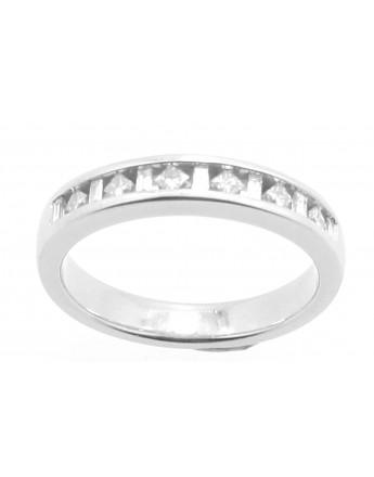 Pierścionek z białego złota z diamentami princess bagiet 0.35ct.H/VS-SI masa 3.750g. 585 z certyfikatem