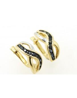 Kolczyki złote z szafirami 1.60ct. masa 5.600g.