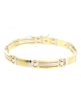 bransoletka z żółtego złota z elementami białego złota masa 25.300gr. 585 21.5cm.