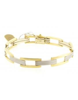 bransoletka z żółtego złota z elementami białego złota masa 15.550gr. 585 19.5cm.