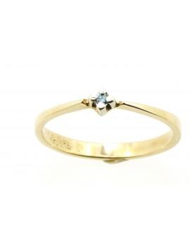 Pierścionek złoty z brylantem 0,03ct.BLUE/SI-d/d masa 1.500gr. 585 z certyfikatem.