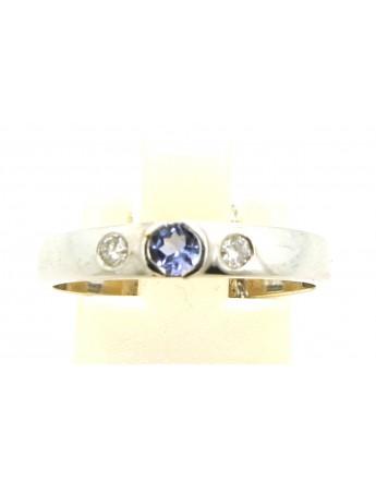 Pierścionek z białego złota z brylantami 0.07ct.H/VS + tanzanit  0.12ct. masa 2.800gr. 585 z certyfikatem.