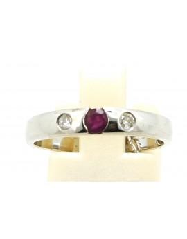 Pierścionek z białego złota z brylantami 0.07ct.H/VS + rubin 0.13ct. masa 2.800gr. 585 z certyfikatem.